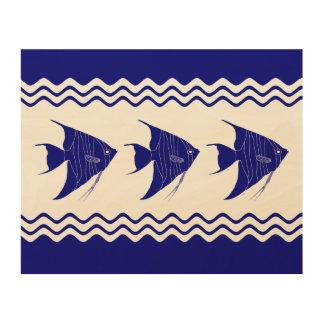 3 Navy Blue And White Coastal Decor Angelfish Wood Canvases