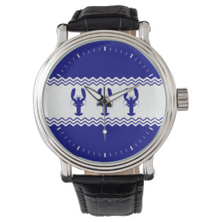 3 Navy Blue And White Coastal Lobsters Watch
