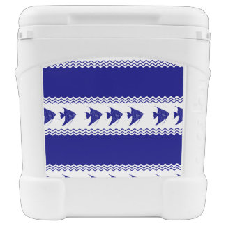 3 Navy Blue And White Coastal Pattern Angelfish Rolling Cooler
