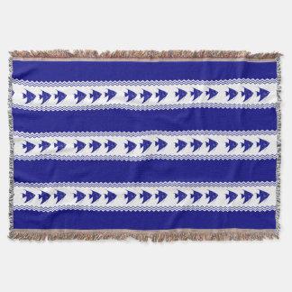 3 Navy Blue And White Coastal Pattern Angelfish Throw Blanket