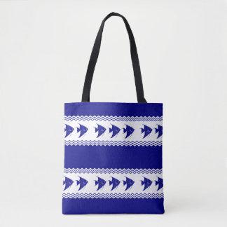 3 Navy Blue And White Coastal Pattern Angelfish Tote Bag