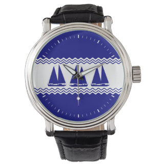 3 Navy Blue And White Coastal Sailboats Watches