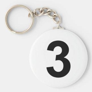 3 - number three basic round button keychain