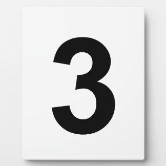 3 - number three plaque