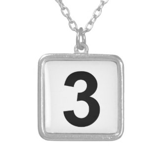 3 - number three silver plated necklace