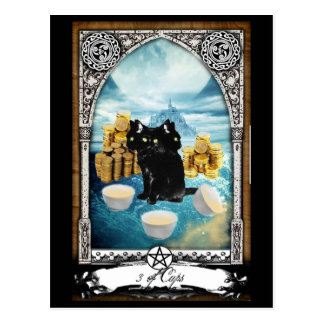 3 of Cups 3 Headed Black Cat Tarot Postcard