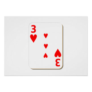 3 of Hearts Playing Card Poster