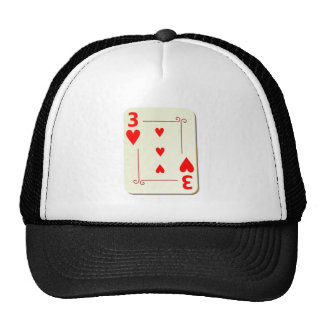 3 of Hearts Playing Card Trucker Hat