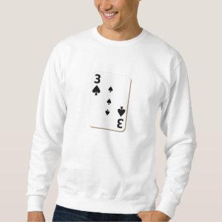 3 of Spades Playing Card Sweatshirt