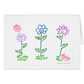 3 one line flowers card