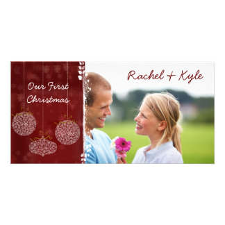 3 Ornaments Our First Christmas Your Photo Customized Photo Card