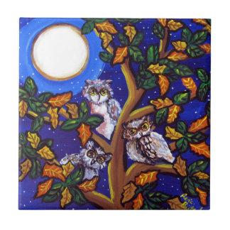 3 Owls Moon Whimsical Folk Art Tile