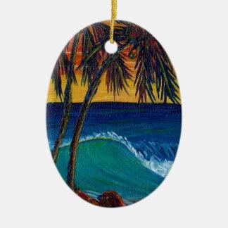 3 palm sunset ceramic ornament