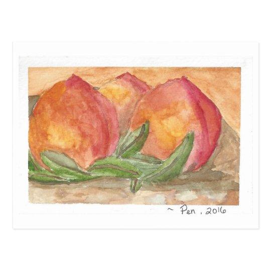 3 Peaches postcard - PenConnor 2016 (watercolor)