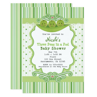 3 Peas in a Pod Triplets Baby Shower Invitations