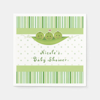 3 Peas in a Pod Triplets Baby Shower Party Custom Paper Napkins