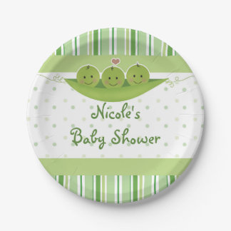 3 Peas in a Pod Triplets Baby Shower Party Custom Paper Plate