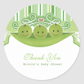 3 Peas in a Pod Triplets Baby Shower Party Favor Classic Round Sticker