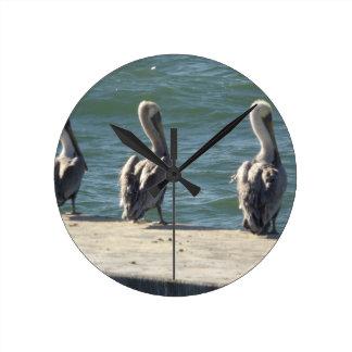 3 Pelicans Round Clock