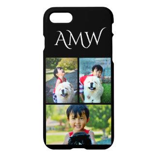3-Photo Collage Color Black White Monogram Custom iPhone 8/7 Case