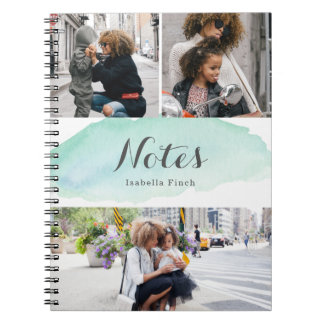 3 Photo Turquoise Watercolor Notebooks