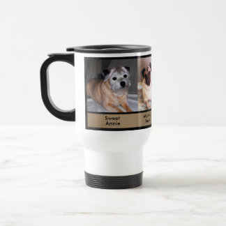 3 Photos and 9 Text Boxes Custom Dog Travel  Mugs