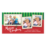 3 Picture Frames on Striped Background, Christmas Photo Card