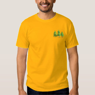 3 Pine Trees Embroidered T-Shirt