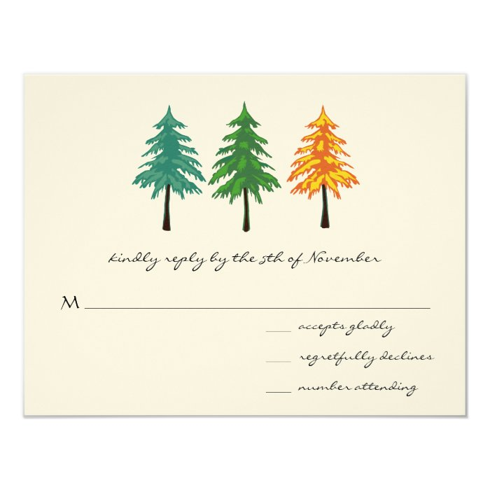 "3 Pine Trees Wedding Response Card 4.25"" X 5.5"" Invitation Card"