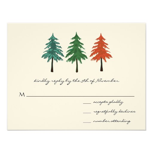 3 Pine Trees Wedding Response Card Personalized Announcements