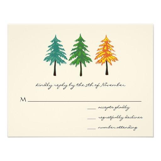 3 Pine Trees Wedding Response Card Personalized Invites