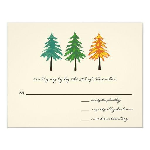 "3 Pine Trees Wedding Response Card 4.25"" X 5.5"" Invitation Card"