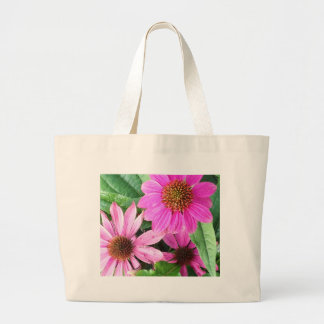 3 Pink Flowers Large Tote Bag