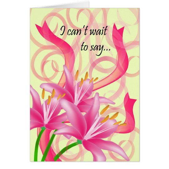 3 Pink Lilies With Ribbons and Swirls Card