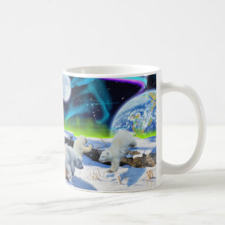 3 Polar Bear Cubs Playing in Snow - Earth Day Art Coffee Mug