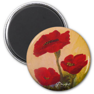3 Poppies 2 Inch Round Magnet