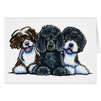 3 Portuguese Water Dogs Greeting Card