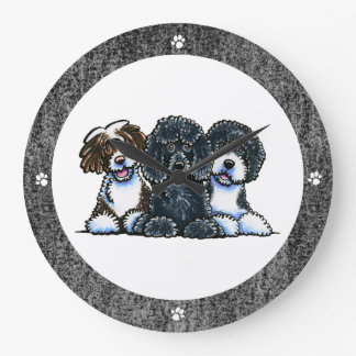 3 Portuguese Water Dogs Clocks