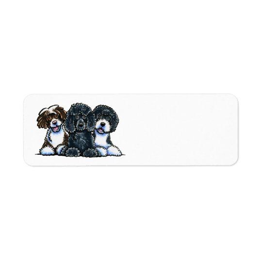 3 Portuguese Water Dogs Return Address Label