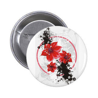 3 Pretty Flowers - Color 2 Inch Round Button