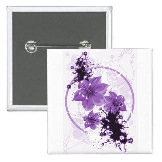 3 Pretty Flowers - Purple 2 Inch Square Button