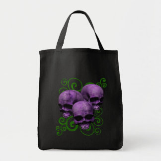 3 Purple Skulls w/Green Swirl Design Tote Bag
