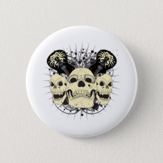 3 Rock n Roll Skulls 2 Inch Round Button