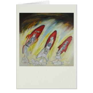 3 rockets, original art, fantasy, fun card
