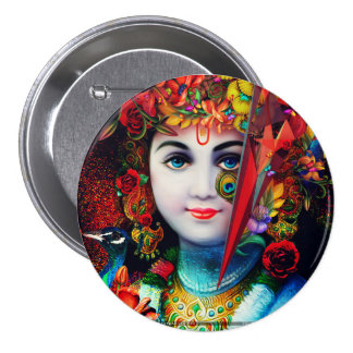 "3"" round button with krishna"
