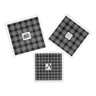 3-Set of Black Plaid Serving Trays