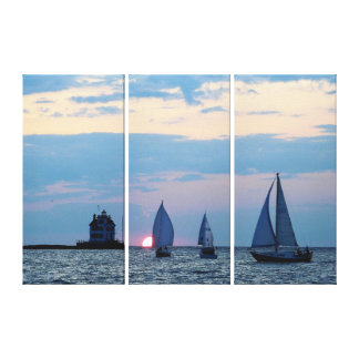 3 Ships at Sunset Wrapped Canvas Print