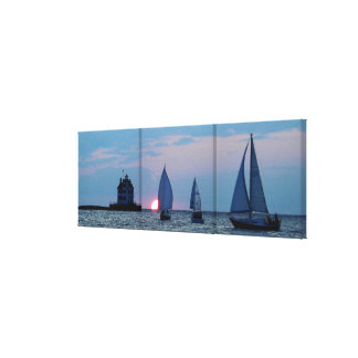 3 Ships at Sunset Wrapped Canvas Print 36 x12