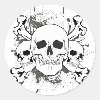 3 Skulls & Cross Bones Round Sticker