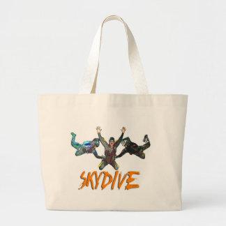 3 Skydivers - Orange Large Tote Bag